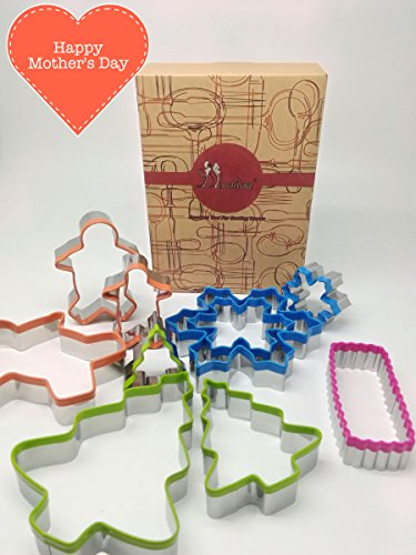 CLEARANCE SALE!!! Ornament Cookie Cutter Gift Set - 9pc + 1 free, Special Holiday Design - Christmas Tree, Gingerbread man, Snowflake + Mini Oblong (Christmas Holiday Cookie Ornament)