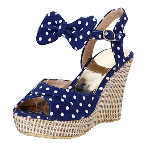 (KIKIVA WomensPolkaDotSandals Wedges Heel Open Toe Ankle Strap Pumps with Bow,8.5 M US,Blue)