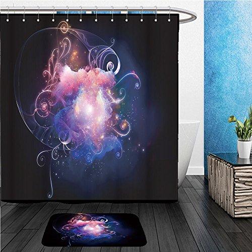 Beshowereb Bath Suit: ShowerCurtian & Doormat background design of decorative shapes and fractal elements on the subject of design imagination - Shape Design A Suit