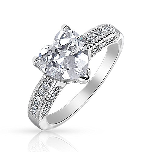 Two Hearts Ring - 2CT AAA CZ Solitaire Heart Shaped