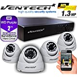 Camera system with hard drive and cable by ventech 4ch security dvr with 4 CCTV Cameras for home surveillance AHD Outdoor weatherproof app Smartphone Access qr code 2TB,Night Vision outside house