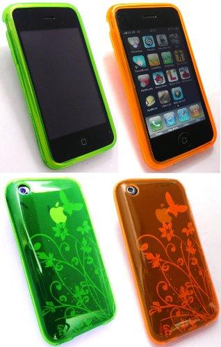Emartbuy ® Apple Iphone 3G / 3Gs Bundle Pack Von 2 Floral Gel Skin Cover - Grün & Orange