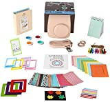 Fujifilm Instax Mini 8+ Cocoa Camera Accessories Bundle - 14 Piece Kit Set Includes:Camera Case with Strap - Album - Filter - Selfie lens - Magnets + Hanging + Creative Frames - stickers - Gift Box