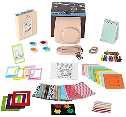 Fujifilm Instax Mini 8+ Cocoa Camera Accessories Bundle,14 Piece Kit Set Includes:Camera Case with Strap, Album, Filter, Selfie lens, Magnets + Hanging + Creative Frames, stickers, Gift (Magnet For Mod)