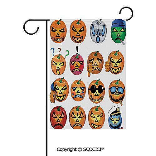 SCOCICI Double Sided Washable Customized Unique 12x18(in) Garden Flag Carved Pumpkin with Emoji Faces Halloween Humor Hipster Monsters Art,Orange,Flag Pole NOT Included (The Best Carved Pumpkin In The World)