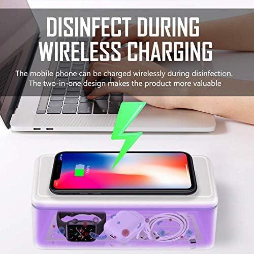DZJ Lumière UV Sanitizer, UVC stérilisateur boîte avec Chargeur sans Fil, Grande capacité UVC désinfecteur pour Toute Taille de téléphone cellulaire, Montres, Bijoux, Lunettes