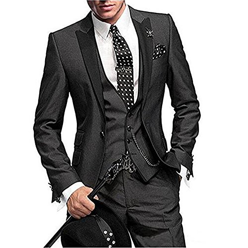 One Button 3 Pieces Charcoal Wedding Suits Notch Lapel Men Suits Groom Tuxedos Charcoal 44 chest / 38 waist ()