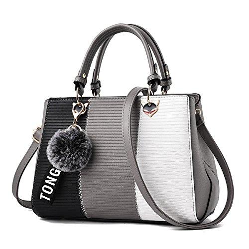Coolives Bolsos de las mujeres bolso de cuero diseño elegante moda mango bolsa colorblock bolsos de hombro medio Gris