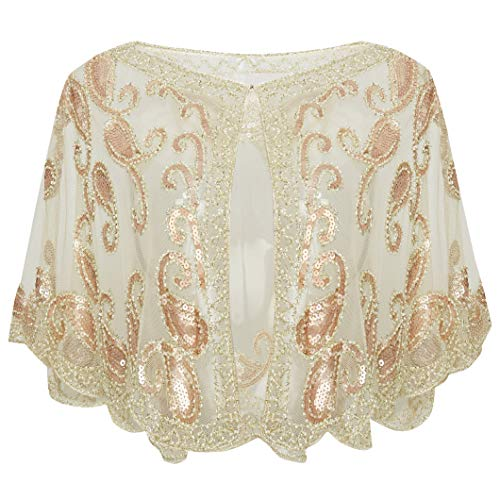 BABEYOND 1920s Shawl Wraps Beaded Evening Cape Bridal Shawl for Evening Dresses Wedding Party (Beige)
