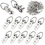 Picture Hangers 2-Hole D Ring Picture Frame Hanger with Screws Set for Home Decoration(50 Pack)