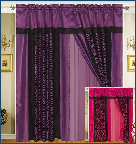 A Pair of Faux Silk and Flocking Black and Purple Zebra Printingg Valance Windows Curtain / Drapes / Panels with Linen and Tieback.