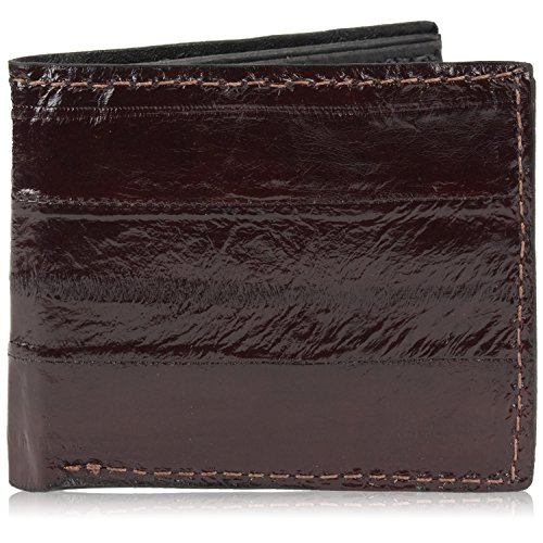 Genuine Pacific Eel Skin Leather Bifold Wallet Handmade (6 Card Slots, Brown)