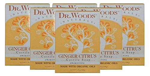 Dr. Woods Ginger Citrus Bar Soap with Jojoba Oil & Organic Shea Butter, 5.25 Ounce (Pack of 6)