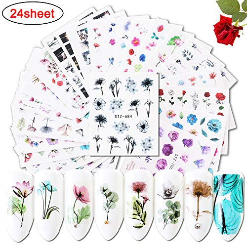 Nail Decals for Women & Girls Fingernail Decorations Nail Art Accessories 24 Sheets Nail Stickers with Assorted Patterns Water Transfer Blossom Flower Flamingo Stickers Set Manicure Charms Tip Decor