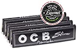 4 OCB Premium King Size Slim Cigarette Rolling Papers Packs (32 Rolling Papers Per Pack) + Limited Edition Beamer Smoke Sticker. Used with Legal Smoking Herbs, Rolling Tobacco, Herbal Mixess