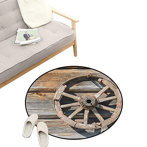 - Barn Wood Wagon Wheel Round Rugs ,Old Log Wall with Cartwheel Telega Rural Countryside Themed Image, Design Home Decoration 23