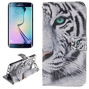 The White Tiger Print Pattern Double Horizontal Leather Case Funda Flip Cover con Holder & & Wallet Bolsillos Internos Para Samsung Galaxy Note, Small 5 Edge Quantity Recommended Before Samsung Galaxy Note Edge Launching 5