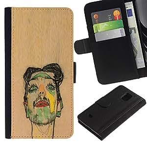 Planetar® Modelo colorido cuero carpeta tirón caso cubierta piel Holster Funda protección Para Samsung Galaxy S5 Mini / SM-G800 (Not For S5!!!) ( Artist Painting Sketch Portrait Brown )