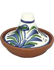 Reston Lloyd Hand Painted Nautral Terra Cotta Mini Tagine, Sauce/Side Dish, Malaga Pattern, Set of 2