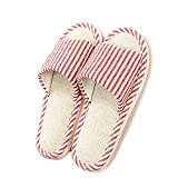 HaloVa Home Slippers, Open Toe Couple Sandals, Flax Casual Indoor House Bedroom Footwear Shoes With Non-Slip Sole For Women Girls Ladies,Pink,5-5.5
