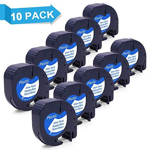 10x cinta Dymo LetraTag Cassette 91201 S0721610 Recambio Dymo 12mmx4m Plástico Compatible con Dymo LT-100H LT-100T LT-110T...