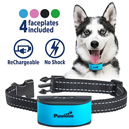 Bark Collar for Small Dogs - Humane No Shock Rechargeable Anti Barking Collar - 4 Color Faceplates, No Harmful Prongs, Sound, Vibration, 7 Sensitivity Levels (Best Shock Collar For Puppies)