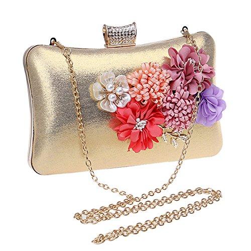 Flower Glitter Gold Shoulder Prom Bag Bridal Women Party Evening For Antique Wedding Purse Handbag Clubs Clutch Ladies Diamante Gift Envelope Bag vvq0aRnX