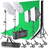 Neewer Upgraded 2.6×3 M/8.5×10 ft Background Support System with 800W 5500K Softbox and Umbrella Continuous Lighting Kit for Photo Studio Product, Portrait and Video Photography (New Fabric Backdrop)