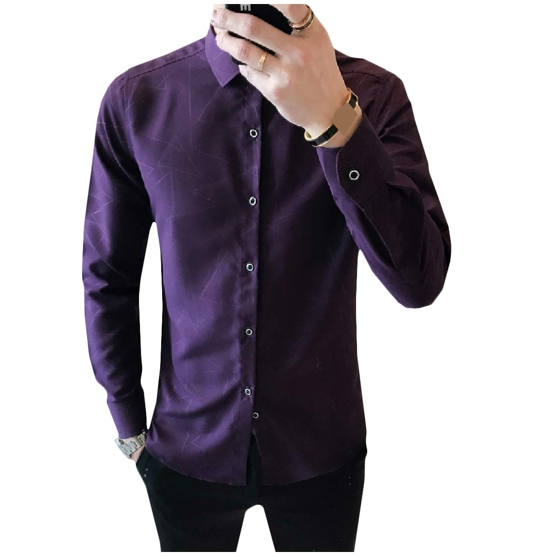 Vska Men Britain Square Collor Geometric Printing Long Sleeve Button Down Shirt