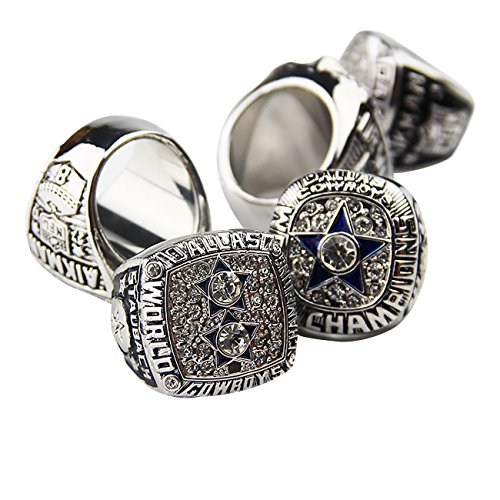 GF-sports store Dallas Cowboys Supper Bowl Championship Rings Display Box Full Set Replica (White)