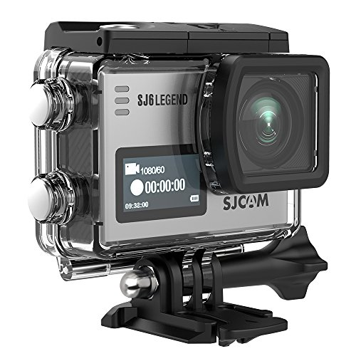 SJCAM SJ6 Legend 4K Action Camera 16MP/Dual Screen/2.0 Touchscreen/Gyro Stabilization/External Microphone,Remote Control Supported/Wifi Underwater Camera with Waterproof Case & Accessories-Silver by SJCAM