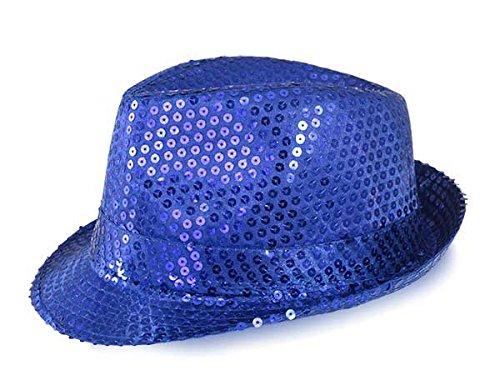 Funkeet Adult Sequin Fedora Hat Kid Dance Cap Solid Jazz Hat Party Glitter Costum (S - Kids, Blue) -
