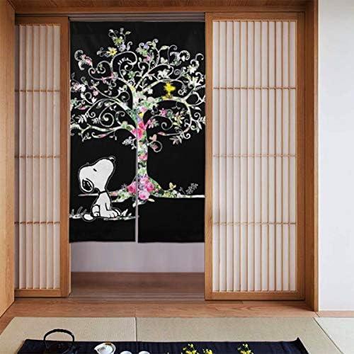 カラフルなツリーのスヌーピー 網戸 玄関 86 X 143cm 玄関カーテン 取付簡単 ドア/ベランダ/玄関/勝手口