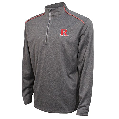 Crable NCAA Rutgers Scarlet Knights Men's Quarter Zip with Shoulder Piping Polo, Large, Black/Red