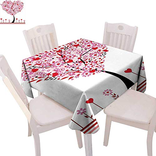 cobeDecor Valentine Dinner Picnic Table Cloth Heart Shaped Tree Daisies Wildflowers Red Leaves Forest Romance Season Image Waterproof Table Cover for Kitchen 54