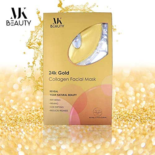 Anti-Aging Gold Face Mask – 24 K Collagen Rejuvenating Facial For Skin Brightening & Anti-Wrinkle Effects With Pack of 3 By MJK Beauty