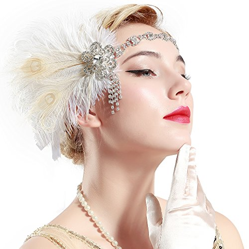 BABEYOND Vintage 1920s Flapper Headband Roaring 20s Great Gatsby Headpiece with Peacock Feather 1920s Flapper Gatsby Hair Accessories -