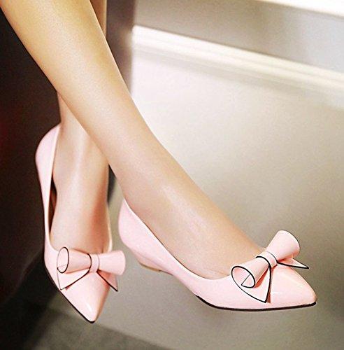 Aisun Womens Cute Laag Uitgesneden Dressy Gepolijste Puntschoen Slip Op Lage Hak Wig Pumps Schoenen Met Strikjes Roze