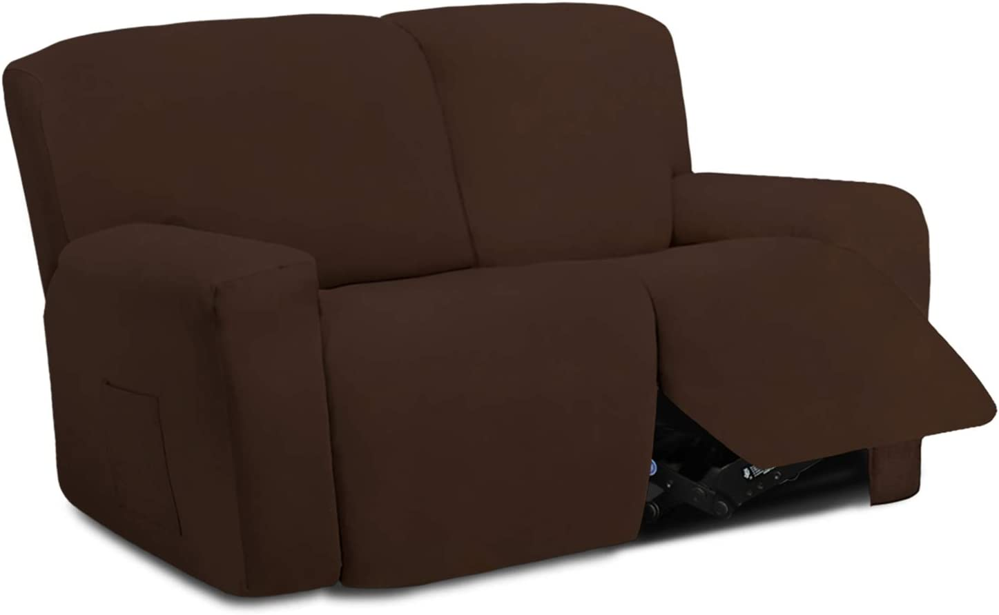 Easy-Going 6 Pieces Microfiber Stretch Sectional Recliner Sofa Slipcover Soft Fitted Fleece 2 Seats Couch Cover Washable Furniture Protector with Elasticity for Kids Pet(Recliner Loveseat,Coffee)