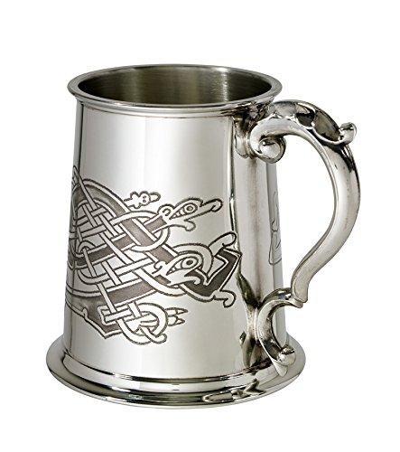 Bright Pewter Tankard (Wentworth Pewter Celtic Birds 1 pint pewter Tankard)