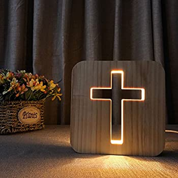 Night Light for Kids Cross Wooden 3D Lamp Creative wooden lights simple decorative lights 3D wood carving pattern LED Night Light for Desk Table with USB Powered Home Decoration Best Gift for Kids
