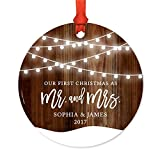 Andaz Press Personalized Wedding Metal Christmas Ornament, Our First Christmas As Mr. and Mrs. 2018, Shining Ball Lights on Rustic Wood, 1-Pack, Sophia & James, Includes Ribbon and Gift Bag, Custom