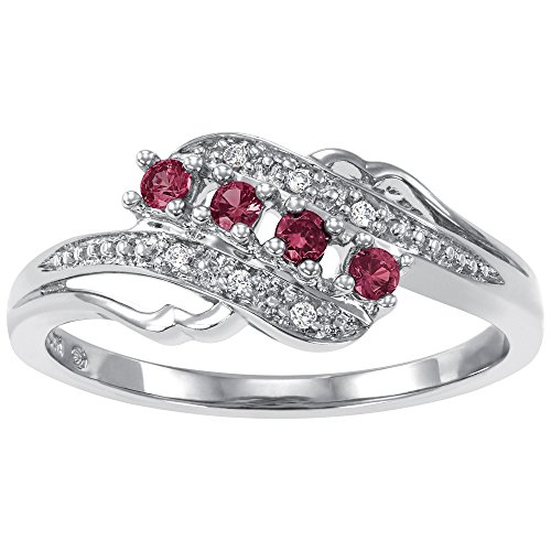 (ArtCarved Angel Heart Simulated Ruby July Birthstone Ring, Sterling Silver, Size 7)