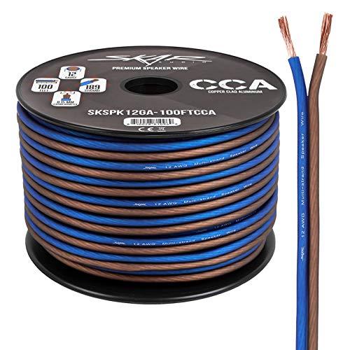 Skar Audio 12 Gauge AWG Speaker Wire Cable - 100 Feet (Blue/Brown)