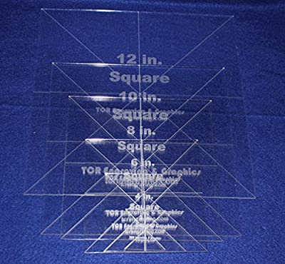"""6 Pc Square Set 2,4,6,8,10,12- 1/8"""" Clear Acrylic - Quilting Templates- No seam"""