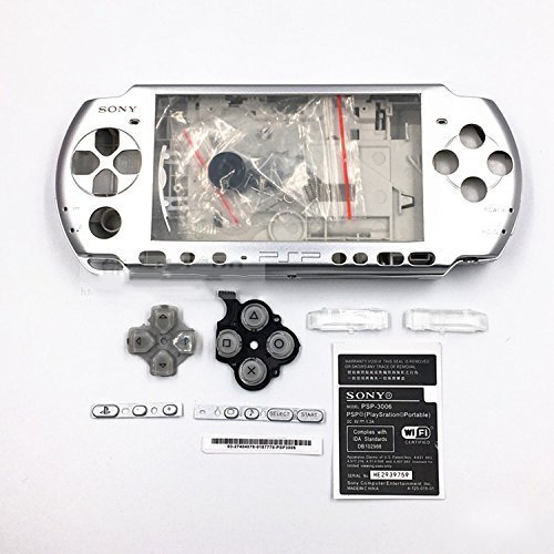 Full Shell Housing Case Cover with Buttons Kit Set For Sony PSP3000 PSP 3000 3001 3002 3003 3004 Series Replacement - Silver ()