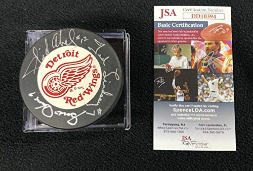 Production Line Howe Abel & Lindsay Signed Detroit Red Wings Trench Puck COA - JSA Certified - Autographed NHL Pucks