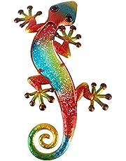 LiffyGift Metal Gecko Wall Decor Outdoor Lizard Glass Sculpture Art Hanging Indoor Garden Decorations for Patio, Porch, Garden, Bedroom