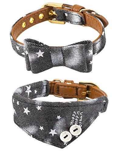 Gyapet Collar for Cat Small Dog Bandana Bowtie Puppies Kitten 2 Packs Adjustable Scarf Cute Camo Stars-Black ()
