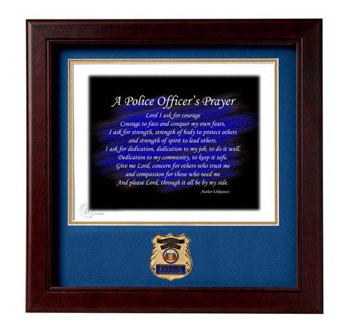Stamped Medallion (POLICE Medallion Solid Wood Frame Police Officer's Prayer Stamped and Numbered Print)